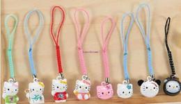 Wholesale Cartoon Bells - Lot 120 pcs Toys Jingle Bells Cell Phone Strap Charms Cartoon Hello kitty cat mixed Jingle Bells Ring