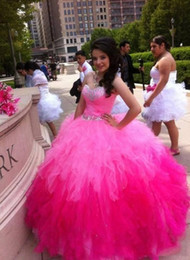 Wholesale Pink Wonderful Ball Gowns - Ball Gown Quinceanera Dresses Pink Red Fuchsia Sweet 15 Years Sleeveless Sweetheart Neck Beading Crystals Cheap Price Wonderful Hot Sale