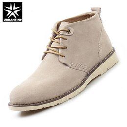 Wholesale High Top Soft Sole - Wholesale- URBANFIND 2016 Men Ankle Boots Suede Upper Shoes EU 38-44 Outdoor Brand Work Rubber Sole Casual Man Boots High Top Shoes