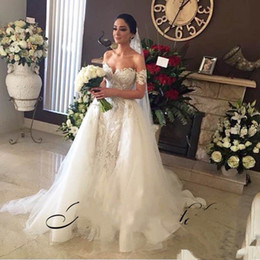 Wholesale Delicate Mermaid - Delicate 2017 Summer Wedding Dresses with Detachable Train Sweetheart Lace Appliques Sexy Off the Shoulder Bridal Gown
