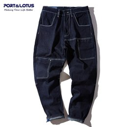 Wholesale Fly Port - Wholesale-Port&Lotus Men Haren Jeans With Hole New Arrival Ankle-Length Pants Slim Fit Straight Pants Distressed Men Jeans 116 wholesale