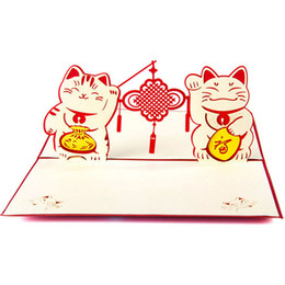 Wholesale Vintage Lucky Cats - Vintage 3D Pop Up Paper Laser Cut Greeting Cards Creative Handmade Lucky Cat Birthday Postcards for Lover Thank You Cards