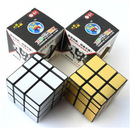 Wholesale Metal Cubes - Free shipping Golden Silver Black Puzzle Mirror cubes 3x3x3 Cube Educational Toys puzzle game Magic Cube