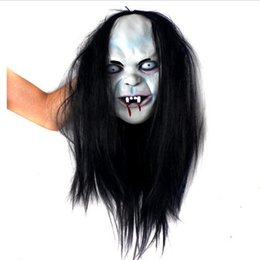 Wholesale Witches Mask - Wholesale-1pcs Fool's day or Halloween Terrible black hair witch mask Novelty & Gag Toys Practical Jokes best playing jokes toys tzx104