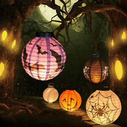 Wholesale Pumpkins Jack O Lanterns - Foldable Halloween Paper Lanterns Jack-O Lanterns Pumpkin Bat Halloween Hanging Light Decoration Light Lamp Halloween Party Decor OOA2832