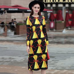 Wholesale Elegant Collections - 2017 Summer New Collection Women's Runway Long Sleeve Printed Slim Straight Dress Slit Elegant Retro Dresses S-XXXL HIGH QUALITY