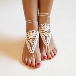 Wholesale Barefoot Sandals For Boys - Women's Heart Handmade Crochet Barefoot Sandals Cotton Anklet Crochet Anklet Fashion Knitted Anklets for Women Jewelry