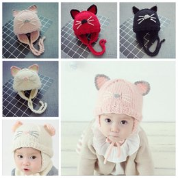 Wholesale Wholesale Hat Cat Ears - Winter Baby Knitted Beanies Cute Cat Ears BeanieCap Ear Protection Hat For Girls boys Handmade Crochet Beanie 6M-3T Infant YYA483