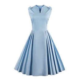 Wholesale Tea Length Slim Dresses - Chic Women's 1950s Vintage Sleeveless Cocktail Party Swing Tea Dress Pure Color Rockabilly A-line Bow Slim Summer Casual Pleated Dresses
