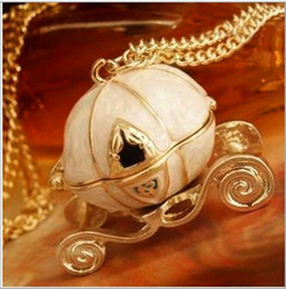 Wholesale Cinderella Pumpkin Carriage Pendant - Vintage Cinderella Jewelry Sweet Cinderella necklaces Fairy Tale Pumpkin Carriage necklaces Pendants Long Sweater Chain Necklaces for Women