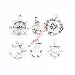 Wholesale anchor charm tibetan - Wholesale- 18pcs Mixed Tibetan Silver Plated Compass Rudder Anchor Charms Pendants for Jewelry Making DIY Handmade Craft