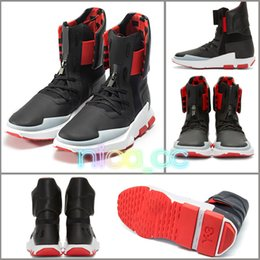 Wholesale Boots Buckles - Kanye West Y-3 NOCI0003 Red White Black High-Top Men Sneakers Waterproof Genuine Leather Luxury Brand Designer Y3 Casual Shoes Boots