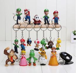 Wholesale Set New Arrivals - Super Mario keychain Bros Luigi Action Figures 18pcs set new arrival youshi mario Gift OPP