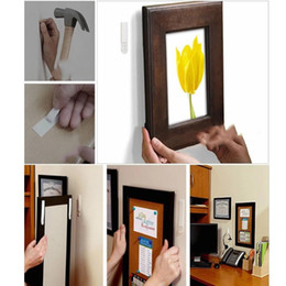 Wholesale Hanging Magic - sticker design 20 pcs Magic Picture Frame Hanging Command Hook Wall Sticker Home Decor Tools 3M Command Nylon