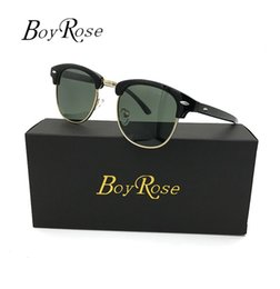 Wholesale Designer Sunglasses Ray Brand - 2017 Luxury BoyRose 51mm Green Mirror Persol Sun Glasses Gradient Rays Sunglasses 2017 Glasses Bans For Men Women Brand Designer Sunglasses