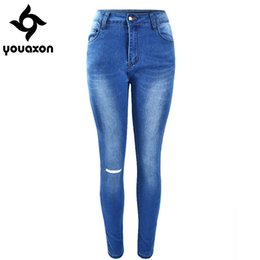 Wholesale Tie Dye Pants For Women - Wholesale- 1885 Youaxon Women`s Fashion High Waist Denim Pants Stretch Ripped Fading Washed Skinny Femme Jean For Woman Jeans