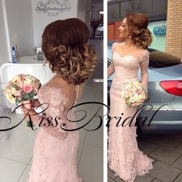 Wholesale Bridesmaid Black T Shirts - Blush Pink Lace Bridesmaid Dresses 3D Floral Long Sleeves Formal Prom Dresses Illusion Mesh Neck Floor Length 2017 Evening Gowns