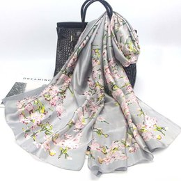 Wholesale Silk Square Neck Scarves - Free shipping Scarf Luxury Brand Fashion Soft Wrap Square Silk Shawl female big size flower neck Scarf For Women office lady gift scarf