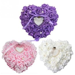 Wholesale Heart Shape Pillow Wedding - 10 Colors Ring Pillow Wedding Favors Heart Shaped Gift Ring Box Ring Pillow Good Quality Western-style