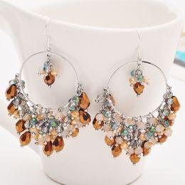 Wholesale Needle Sterling - Women Fashion Ear Stud Earrings Crystal Bead Tassel Silver Needle Loop Earring Luxury Party Accessories Free Shipping