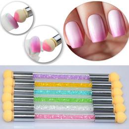 Wholesale Double Headed Nails - Double-ended Nail Art Gradient Shading Dotting Painting Pen Sponge Head Acrylic Rhinestones Handle Gel UV Brush Tools Manicure