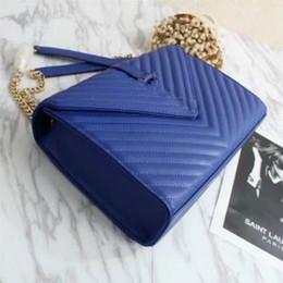 Wholesale Large Shoulder Strap Bags - Women's Diagonal Strap Bag Classic Ladies Twill Chain Bag Shoulder Messenger Bag Handbag Purse Large Bags 3008 Black Blue Red