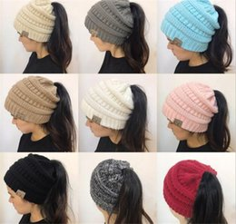 Wholesale Green Ponytail - 20pcs Women CC Ponytail Caps CC Knitted Beanie Fashion Girls Winter Warm Hat Back Hole Pony Tail Autumn Casual Beanies R061