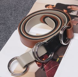 Wholesale Leather Belt Metal Rings - Wholesale- [To Gladself] Women Fashion Double Metal Circle Ring Knot Leather Designer Waist Belt