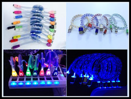 Wholesale Visible Led - Micro USB V8 Visible Charging Cable LED Color Light Data Smiley Flashing 1M Noodle Streamer Charging Cords for Andriod iPhone 4 5 6