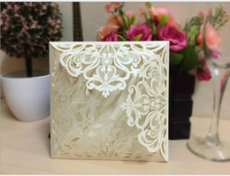 Wholesale Lace Invitations - Wholesale-wholesale new 100sets white lace flower hollow laser cut wedding invitation cards Wedding Supplies + envelopes+blank inner page