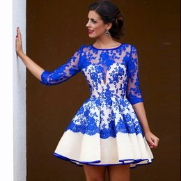 Wholesale Long Lace Quarter Sleeve Dress - Beautiful Short Prom Dress Royal Blue Lace Jewel Three Quarter Sleeves Party Evening Gowns Custom Made Homecoming Dresses Mini