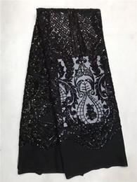 tecido de lantejoulas de renda francesa preta Desconto Popular preto com lantejoulas Africano laço de festa de tule tecido de renda líquida francês para fazer shinning vestido GN92 (5 jardas / lote)