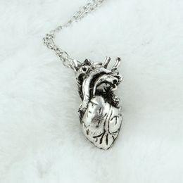 Wholesale Human Heart Halloween - 2017 new Fashion Jewelry Pendants Charm Pendants Human Anatomical Heart Antique Silver 27mm x 13mm free shipping