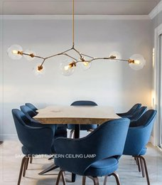 Wholesale Bubble Chandelier Lights - Lindsey Adelman Chandeliers Lighting Modern Globe Glass Bubble Pendant Lamp Natural Tree Branch Suspension Light Hotel Dinning Room Light