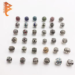 Wholesale Necklace Big Flowers - BELAWANG Silver Europe Big Hole Loose Beads Charm with Colorful Cubic Zirconia Fit Pandora 925 Sterling Silver Bracelet&Necklace DIY Making