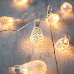 Wholesale-20 Silver Mesh Teardrop Battery Operated LED Fairy Lights String  4.3M for Wedding Party Fairy Lights Christmas Decoration from
