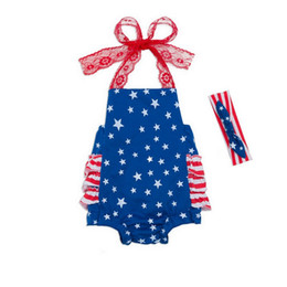 Wholesale Flag Romper - American flag style Baby romper New Lace suspender backless Girls Onesie Independence Day Infant Jumpsuit + Bow Headband C1271