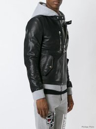 Wholesale Hoodies Leather Men - Top Brand Fashion Desinger Hoodie Faux Leather Punk jacket brand PF31 Coats PU Leather Slim Fit Sporty Style Men Casual Jacket M-3XL