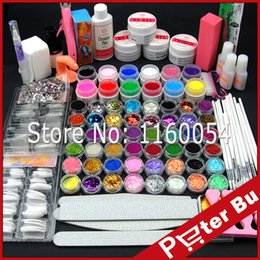 Wholesale Liquid Gel Nail Kits - Wholesale- COSCELIA UV Gel Acrylic Powder Kit +12 Color Pure UV Gel Glitter Liquid UV Gel TopCoat Cleanser Primer Nail Art tools Set