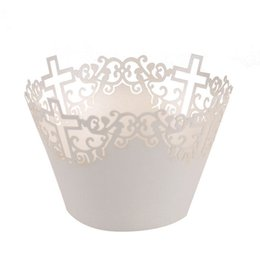 Wholesale White Paper Muffin Cups - Wholesale-50pcs Filigree Vine Cross Lace Out Paper Cake Cupcake Wrappers Muffin Cases Baking Cup Case Trays Wedding Party Decor (White)