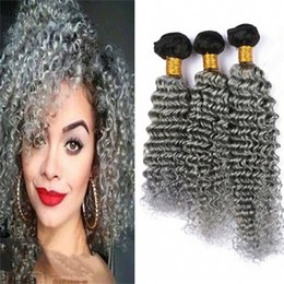 Wholesale Two Toned Curly Hair - 8A Grey Ombre Deep Wave Virgin Indian Hair 3 Bundles Two Tone 1B Gray Ombre Curly Human Hair Weaves Dark Roots Grey Extensions