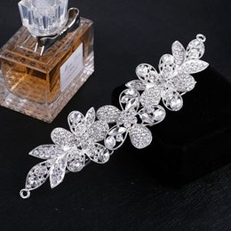 Wholesale Hair Bridal Big Tiaras - New Arrival Bridal Hair Comb Tiara Silver Long Crystal Butterfly Flower Big Headpiece Wedding Hair Comb Accessory for Women 5 Models