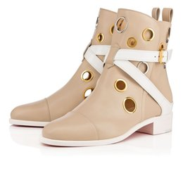 Wholesale Wedding Boots For Men - Winter Women's Boots Red Bottom Ankle Boot For Women Men Flats High Quality Genuine Leather Party Wedding Footwear Shoes 35-46