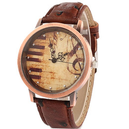 Wholesale Watch Piano - Fashion watches Men Women Luxury Retro musical notes piano keys dial leather watch Brand Quartz Dress wristwatches Relogio Masculino Gift