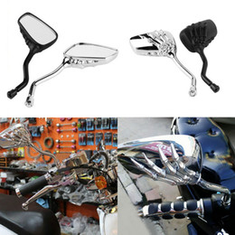 Wholesale Motorcycle Rear Side Mirrors Black - 2X Skeleton Arm Hand Design Universal Motorcycle Chrome SKELETON Skull HAND Claw Side Rear View Mirrors Black   Silver MOT_50T