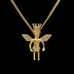 Нержавеющая сталь Crown Angel Trumpet Hip-Hop Angel Pendant Necklace cheap angels trumpet от Поставщики ангел труба