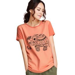 Wholesale Art Blouse - New summer new blouse art printing cotton t-shirt female elephant