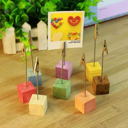 Wholesale Wooden Memo Clips - Table Numbers Holders Memo Note Message Clip Stand Photo Holder Stand Card Paper Clip Holder with Wooden Base for Party Wedding home decor