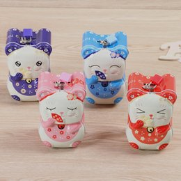 Wholesale Japanese Lucky Cats Wholesale - Metal Japanese Lucky Cat Money Box Piggy Bank Crafts Fortune Cat Opening Promotion Wedding Practical Gift ZA4645