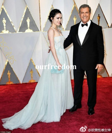 Wholesale Annual Academy - 89th Annual Academy Awards Mint Tulle Celebrity Dresses Strapless Floor Length Red Carpet Dresses Custom Made